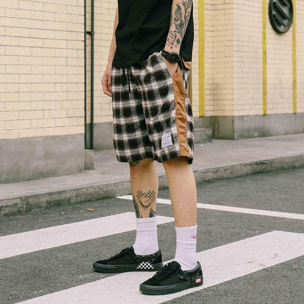 Extreme Aesthetic Shorts In Warm Check - CLOUT COLLECTION