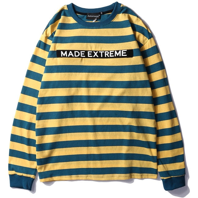 Extreme Aesthetic Long Sleeve Striped T-Shirt - Clout Collection High Fashion Streetwear Men's and Women's