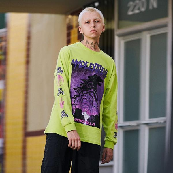 Extreme Aesthetic 'Godzilla' Long Sleeve Tee - Clout Collection High Fashion Streetwear Men's and Women's