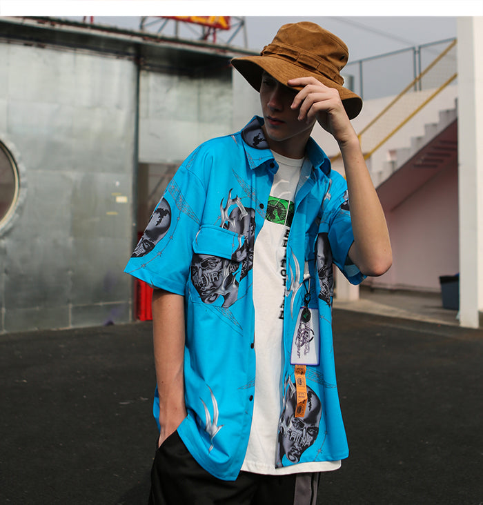 Future Wave Short Sleeve Button Down Shirt - Clout Collection High Fashion Streetwear Men's and Women's