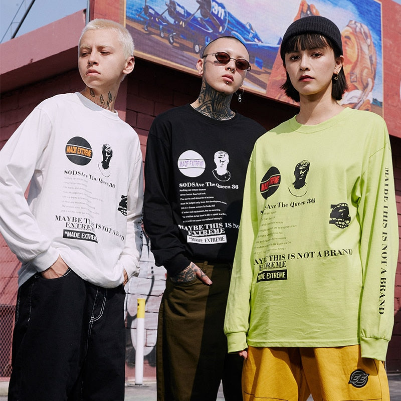 Extreme Aesthetic 'Not a brand' Long Sleeve Tee - Clout Collection High Fashion Streetwear Men's and Women's