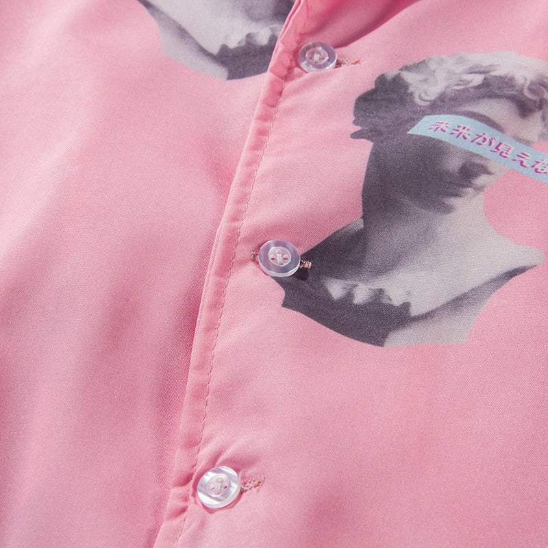 Vaporwave 2001 Silk Button Down - Clout Collection High Fashion Streetwear Men's and Women's
