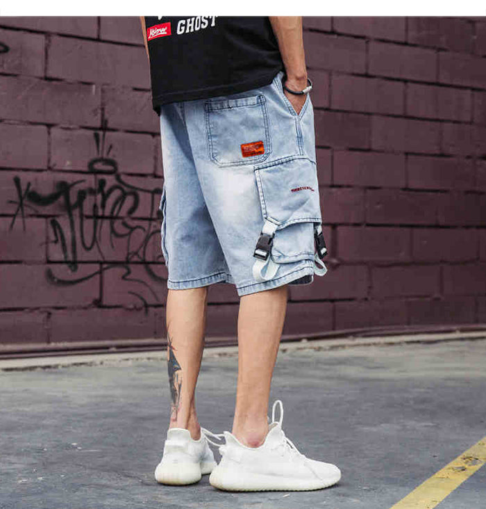 Street Denim Cargo Work Shorts - Clout Collection High Fashion Streetwear Men's and Women's