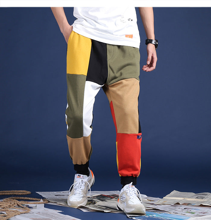 Color Block Slim Fit Joggers - Clout Collection High Fashion Streetwear Men's and Women's