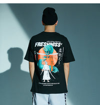 Fresh'Niss Graphic T-Shirt with Samurai Print - Clout Collection High Fashion Streetwear Men's and Women's