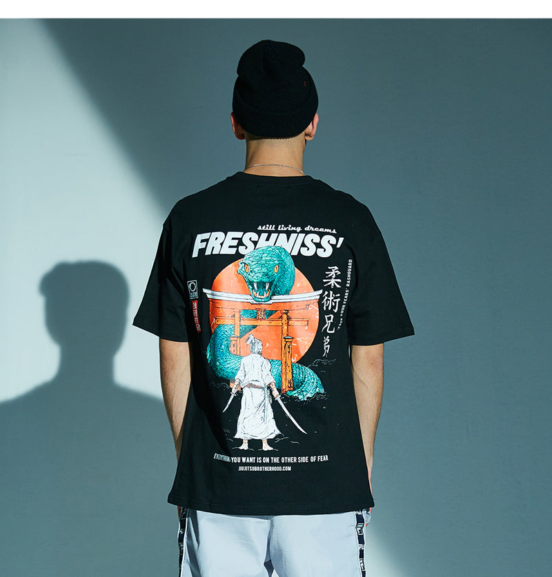 Fresh'Niss Graphic Tee with Samurai Print - Clout Collection High Fashion Streetwear Men's and Women's