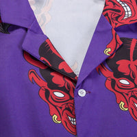 Silk Button Up in Devil Print - Clout Collection High Fashion Streetwear Men's and Women's