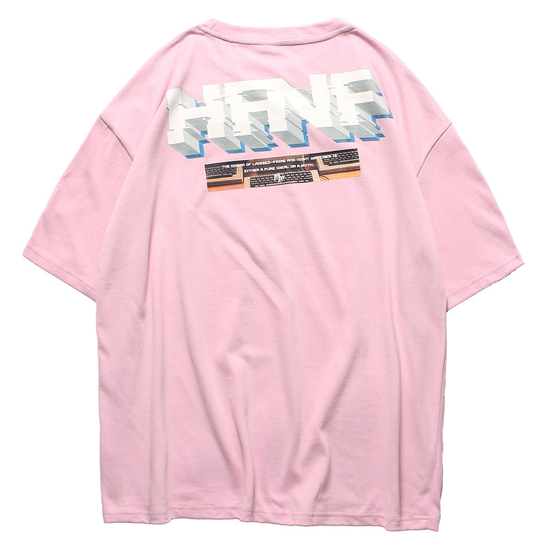 Cotton T-Shirt in 'Pure Action' Vaporwave Print - Clout Collection High Fashion Streetwear Men's and Women's