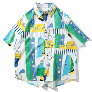 Abstract Dr. Seuss Inspired Silk Button Down - Clout Collection High Fashion Streetwear Men's and Women's