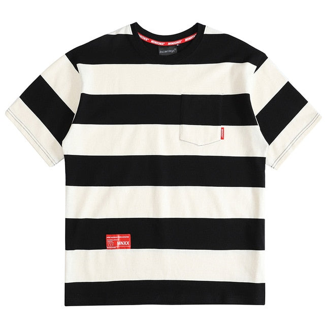 Solid Striped Pocket T-Shirt - CLOUT COLLECTION