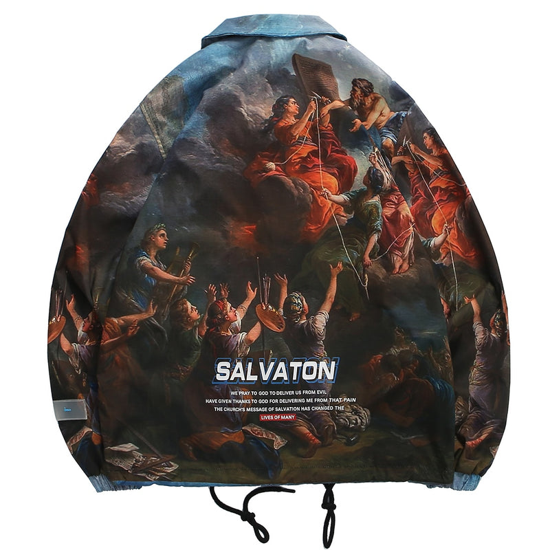 Salvation Collared Snap Button Windbreaker - Clout Collection High Fashion Streetwear Men's and Women's