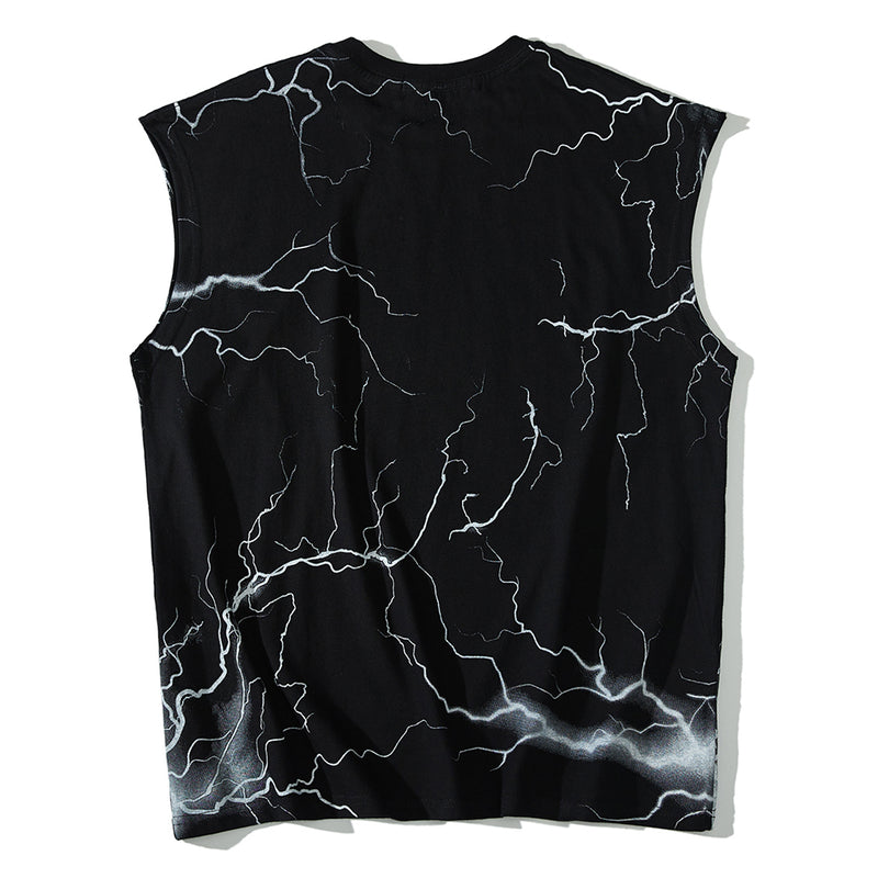 Sleeveless Tee with Editor Metal Logo Print - Clout Collection High Fashion Streetwear Men's and Women's