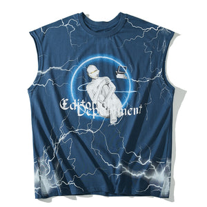 Sleeveless T-Shirt with Editor Metal Logo Print - Clout Collection High Fashion Streetwear Men's and Women's