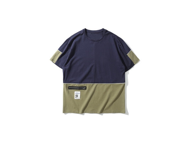 Two-Tone Zipper Pocket Cotton T-Shirt - Clout Collection High Fashion Streetwear Men's and Women's