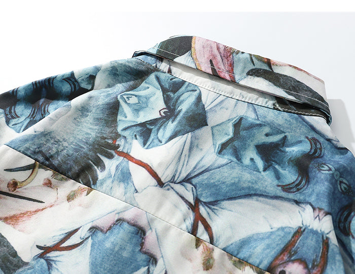 Ancient Abstract Silk Button Down - Clout Collection High Fashion Streetwear Men's and Women's