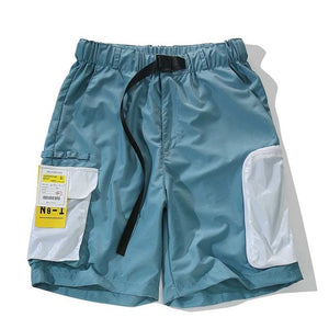Multi-Pocket Belted Athletic Shorts - CLOUT COLLECTION