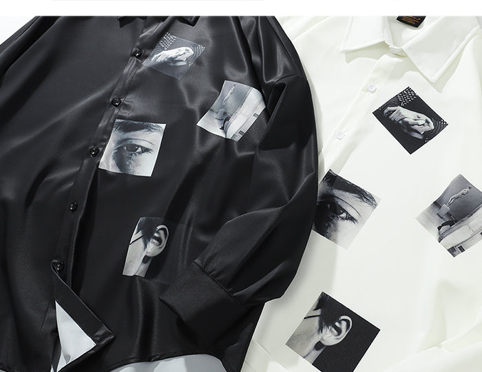 Photo Collage Long Sleeve Silk Button Down - Clout Collection High Fashion Streetwear Men's and Women's