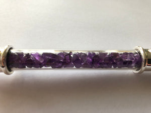 Glass and Amethyst Crystal Healing Wand