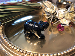 Miniature Black Onyx Bear