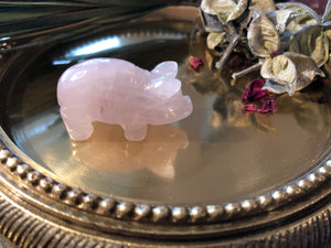 Miniature Rose Quartz Pig