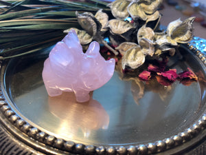 Miniature Rose Quartz Flying Pig