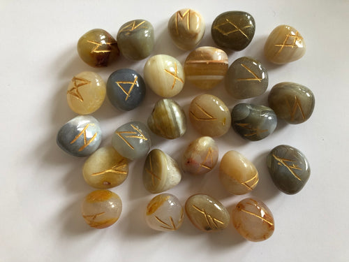 Banded Agate Rune Stones Set