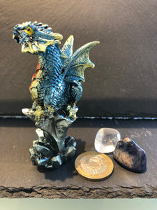 Dragon on a Rock Crystal Formation