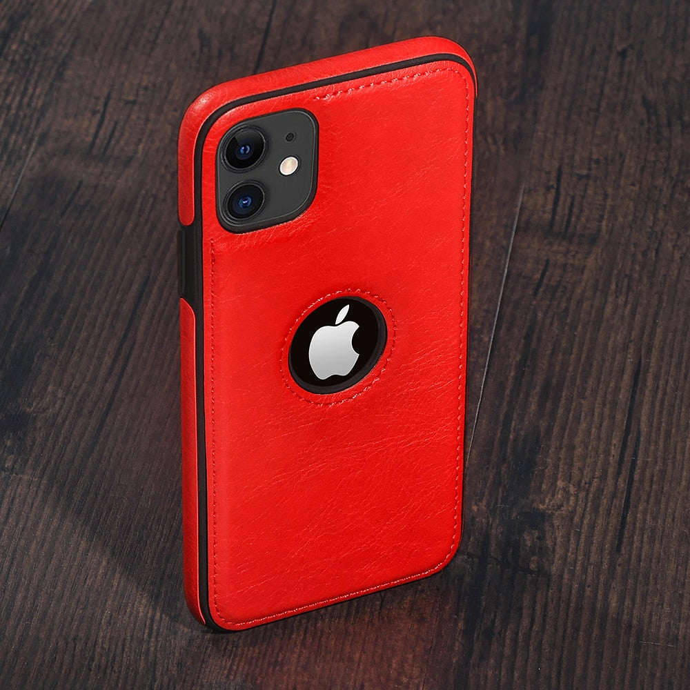 Solid Color PU Leather Phone Case For iPhone 12Pro 11 12 Pro Max XR XS Max X 7 8 6 Plus 12Mini 11Pro Max 11 Slim Soft Back Cover
