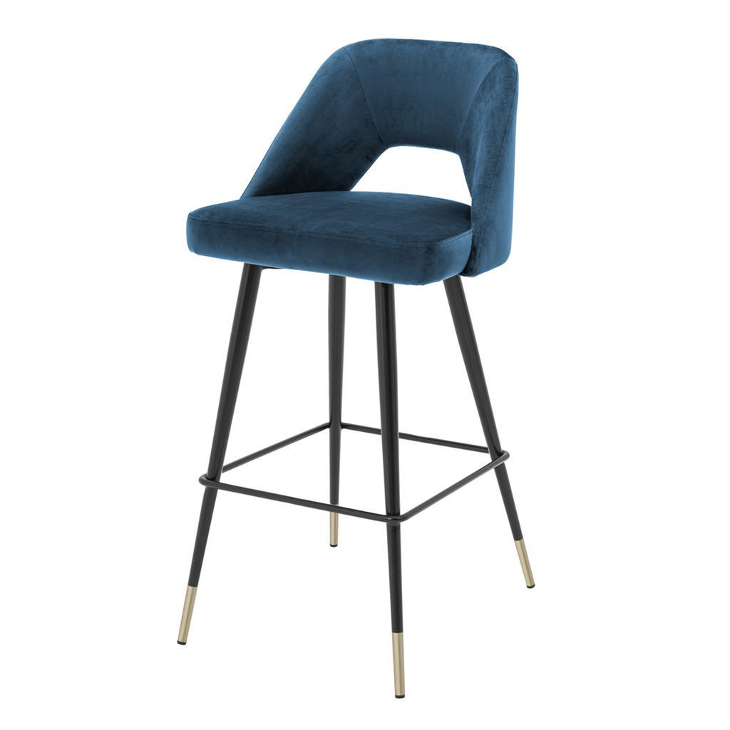 Eichholtz avorio blue bar stool luxury furnitures online