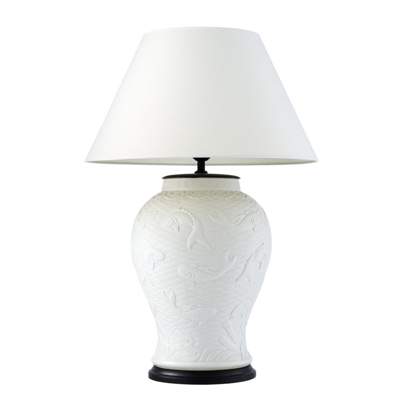 Eichholtz dupoint white ceramic table lamp luxury furniture