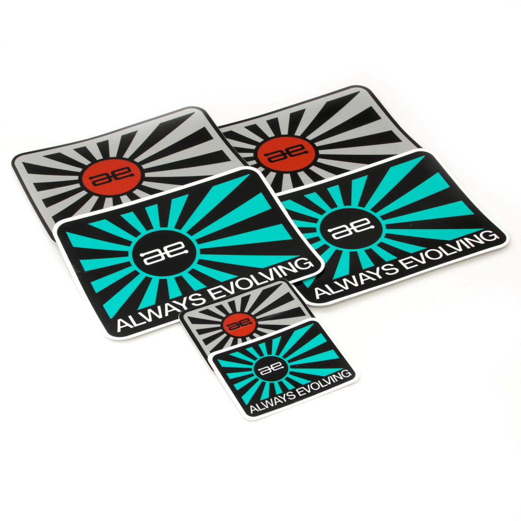 AE Throwback Flag Teal & Grey Stickers 6 PACK