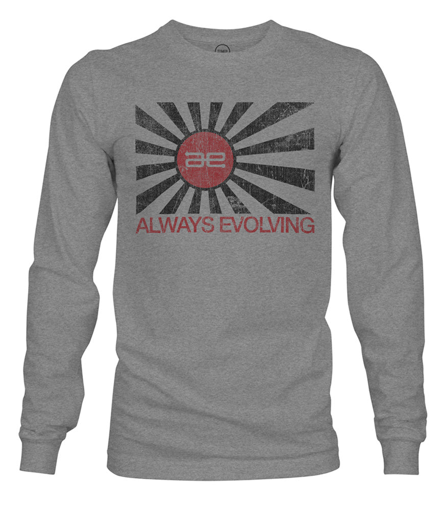 AE Distressed Flag Long Sleeve Grey