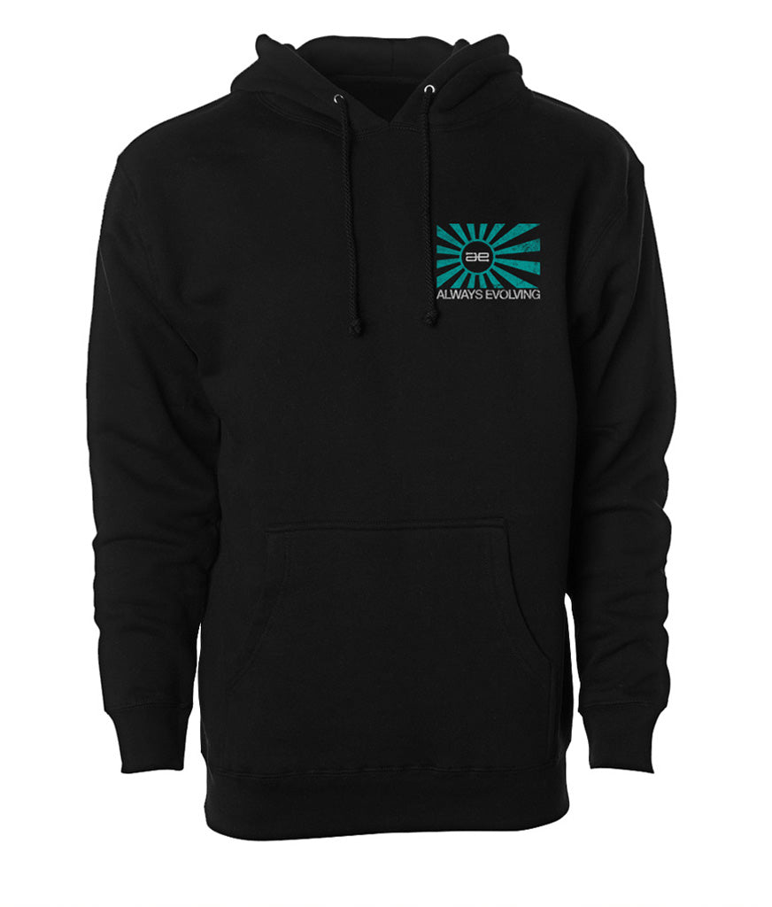 AE Distressed Teal Flag Ultra Heavyweight Pullover Hoodie Black