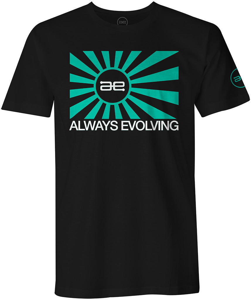 AE Throwback Teal Flag Mens Shirt Black