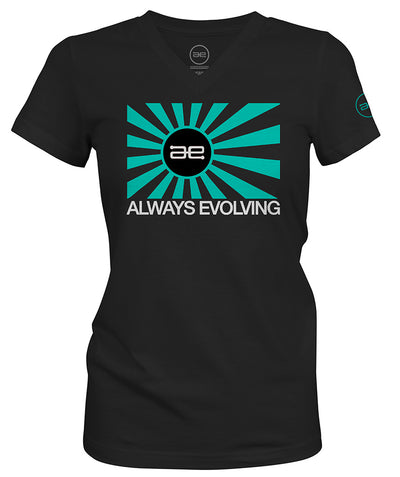 AE Ladies Throwback Teal Flag Logo black Sport V