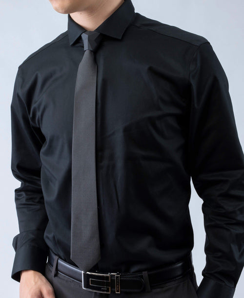 Sharp Obsidian - Solid Black Tie Set - ModernTie.com