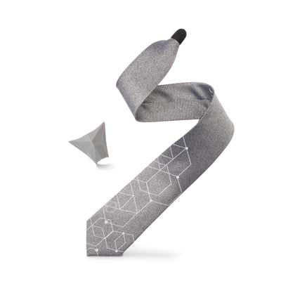 "ModernTie.com SET Regular 19.5"" ""GRAY GEO"" - set Necktie"