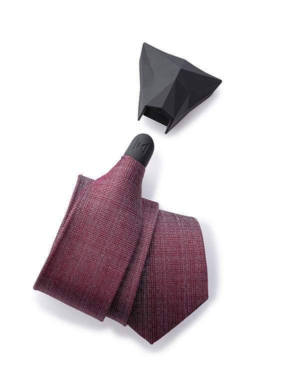 ModernTie.com SET Smooth Mulberry - Silver Burgundy Weave Tie Set Necktie