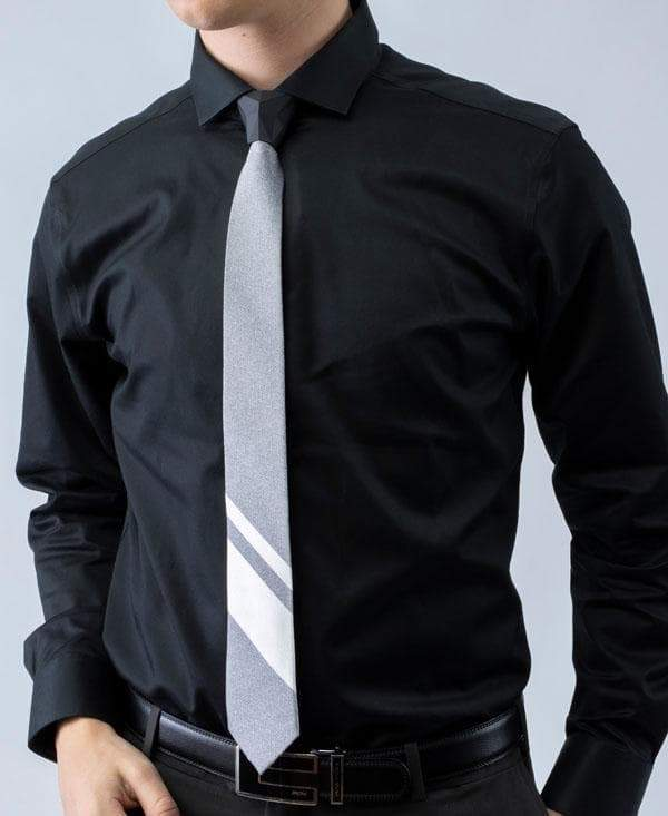 GRAYSCALE - 2 Tone Striped Tipping Athletica - Tie - ModernTie.com