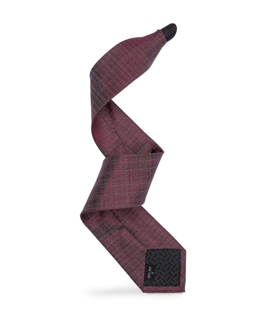 Smooth Mulberry - Silver Burgundy Weave Tie Set - ModernTie.com