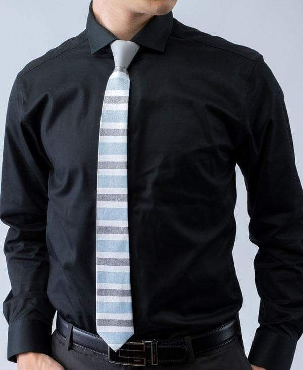 Winter Ash - Blue, White, and Gray Striped Iridescent Tie - ModernTie.com
