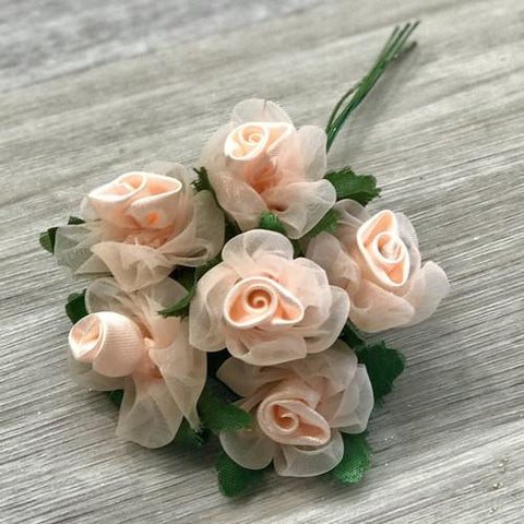 Artificial flowers for diy wedding decorations shop online in flower bunch style 6 peach junglespirit Images