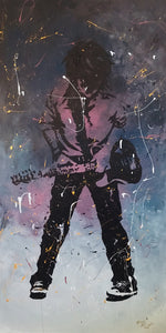 "Rich Wright Fine Art Original Paining  titled "" Kid Wanna Rock"""