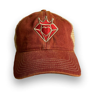 Purveyor Of Love Crowned Heart Faded Maroon and Tan Trucker Hat