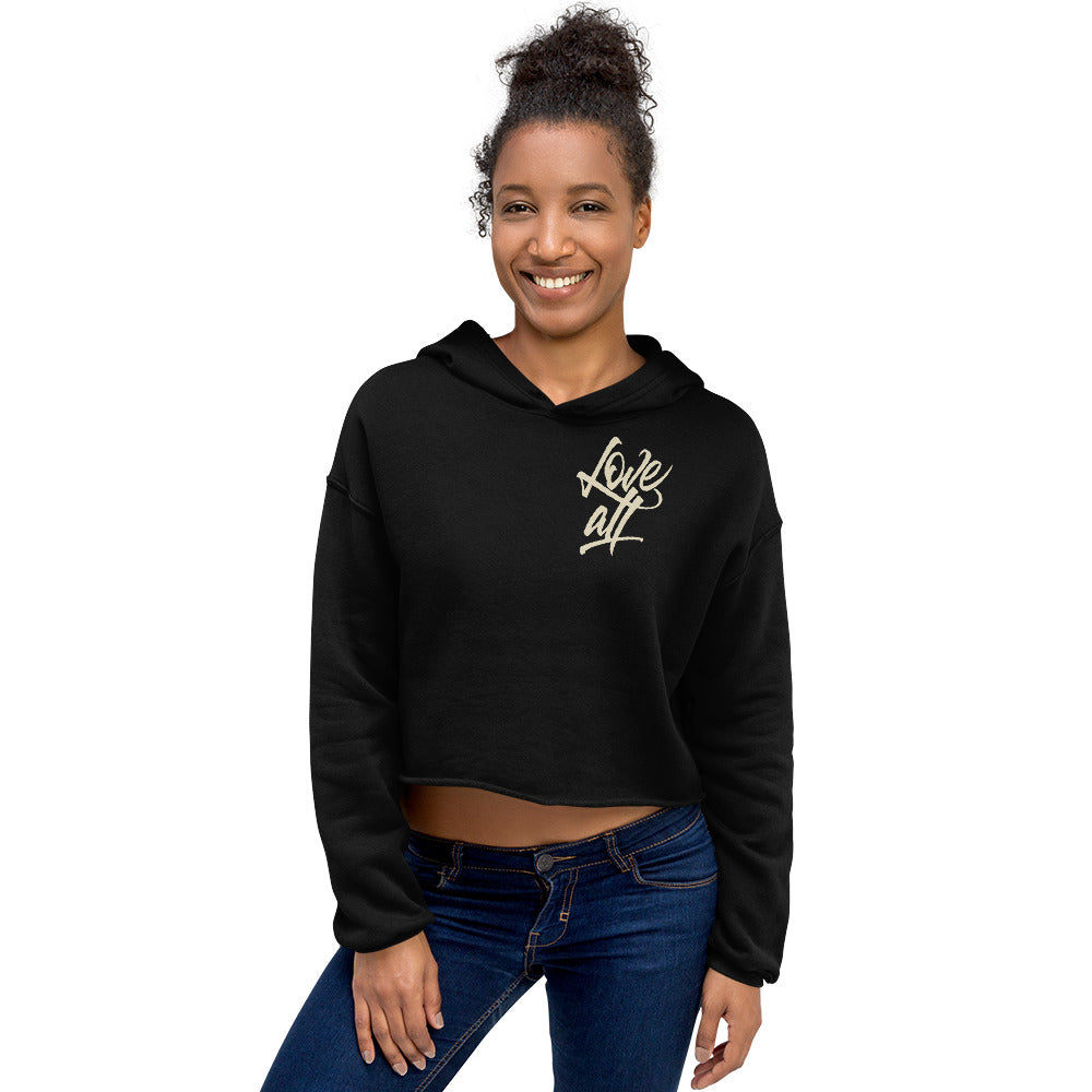 "Purveyor of Love ""Love All Script"" Crop Hoodie"