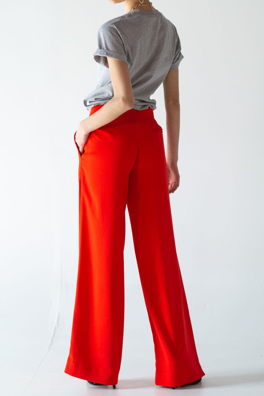 SAMPLE SALE | Red Wide Leg Trousers