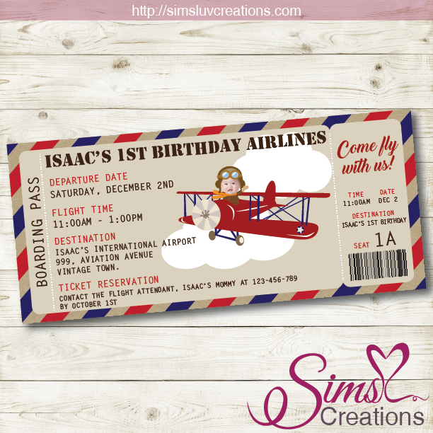 Items Similar To Airplane Birthday Invitation: VINTAGE AIRPLANE THEME PRINTABLE INVITATION
