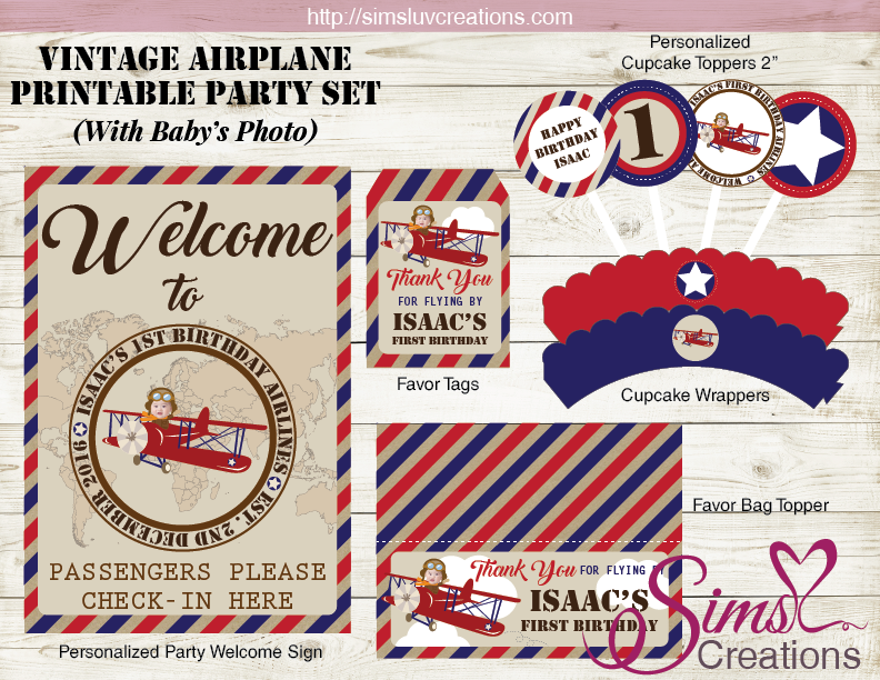 VINTAGE AIRPLANE PARTY PRINTABLES KIT | AVIATOR BIRTHDAY DECORATION KIT