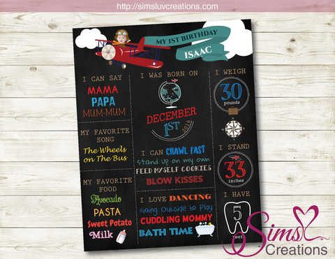 VINTAGE AIRPLANE THEME MILESTONE BOARD | AIRPLANE BIRTHDAY CHALKBOARD POSTER