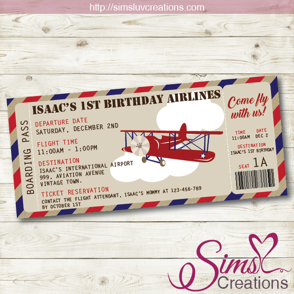 VINTAGE AIRPLANE THEME PRINTABLE INVITATION | AVIATOR BIRTHDAY BOARDING PASS INVITATION
